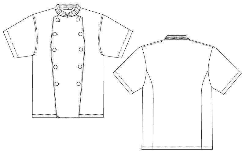 CA-115 チトセ(アルベ) 綿100%コックコート/半袖(男女兼用) ハンガーイラスト・線画