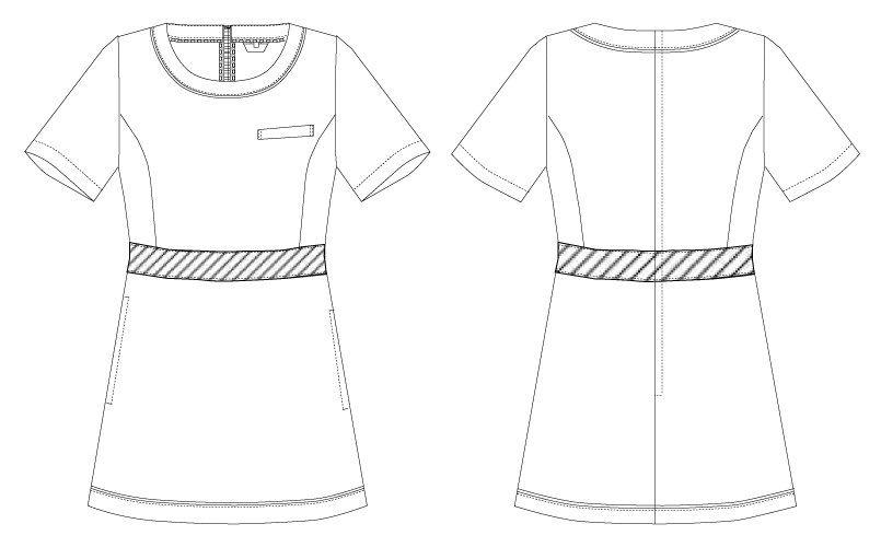 CL-0183 キャララ(Calala) チュニック(女性用) 腰元ライン ハンガーイラスト・線画