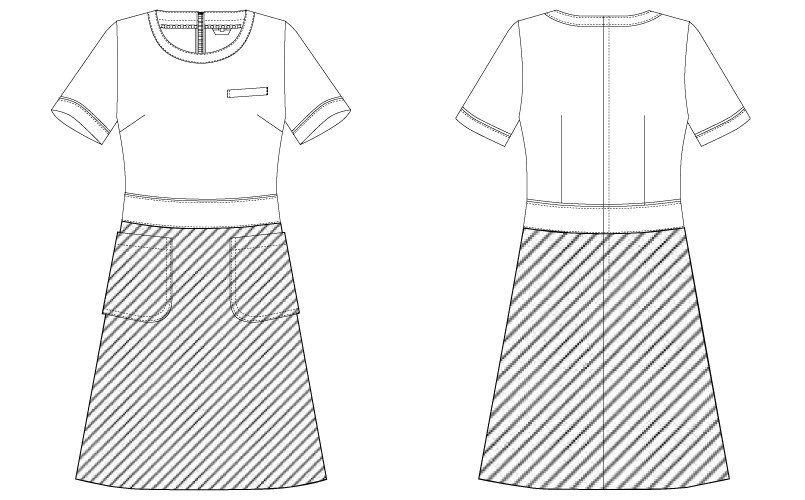 CL-0202 キャララ(Calala) [通年]ワンピース(女性用) 上下ツートン ハンガーイラスト・線画