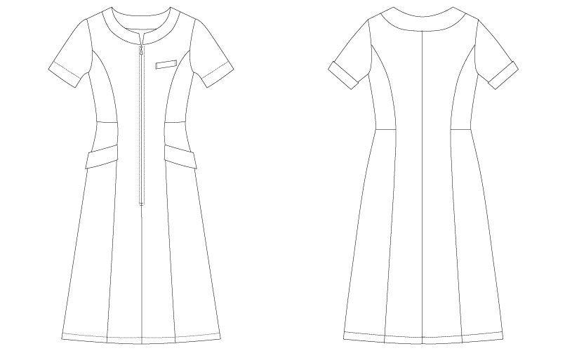 CL-0240 キャララ(Calala) ワンピース(女性用) 襟袖ポケット ハンガーイラスト・線画