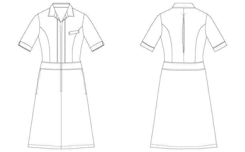 CL-0252 キャララ(Calala) ワンピース(女性用) 五分袖 ハンガーイラスト・線画