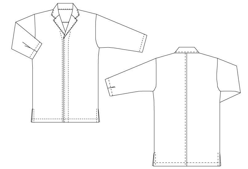 DN-6853 チトセ(アルベ) 白衣/七分袖(男女兼用) ハンガーイラスト・線画