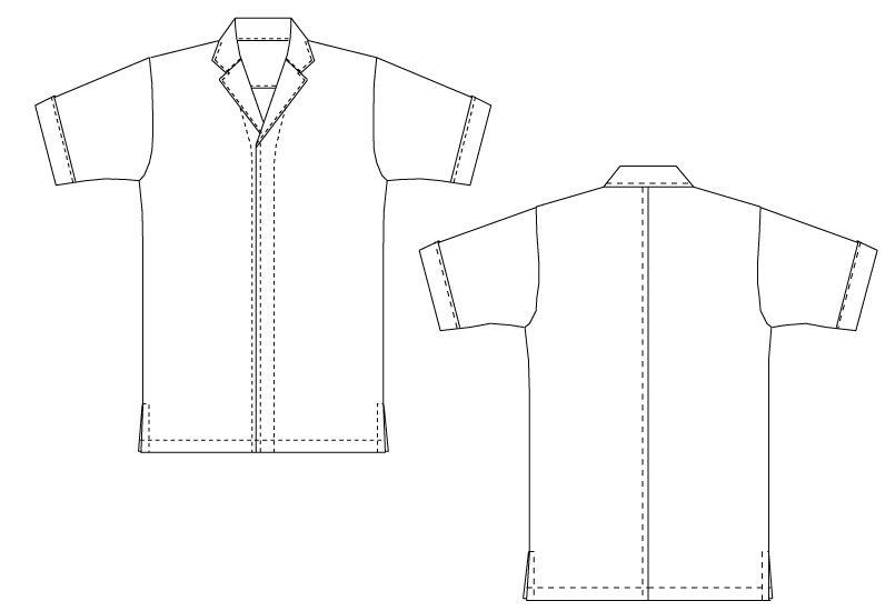 DN-6854 チトセ(アルベ) 白衣/半袖(男女兼用) ハンガーイラスト・線画