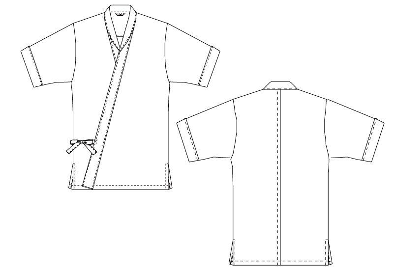 DN-6856 チトセ(アルベ) 近又甚平/ジンベイ/七分袖(男女兼用) ハンガーイラスト・線画