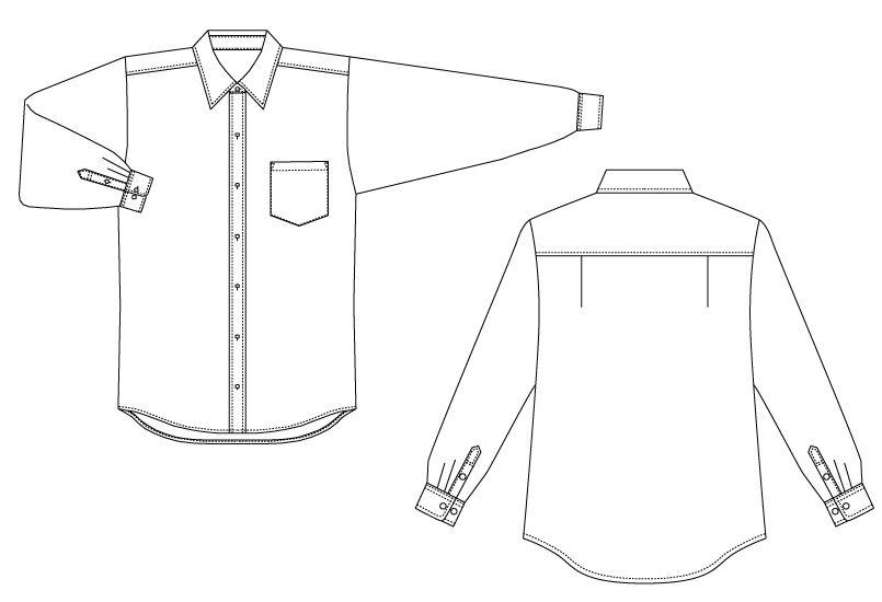 EP-5962 チトセ(アルベ) ブロードシャツ/長袖(男女兼用)レギュラーカラー ハンガーイラスト・線画