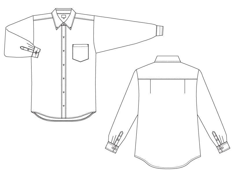 EP-7616 チトセ(アルベ) ボタンダウンシャツ/長袖(男女兼用) ハンガーイラスト・線画