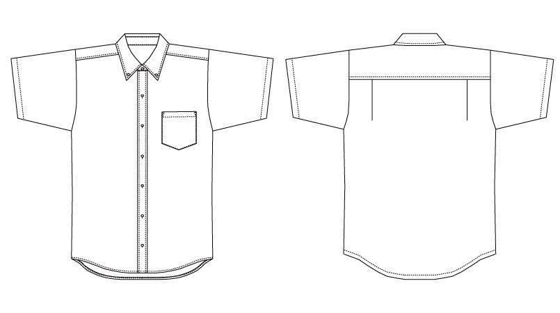 EP-7617 チトセ(アルベ) ボタンダウンシャツ/半袖(男女兼用) ハンガーイラスト・線画