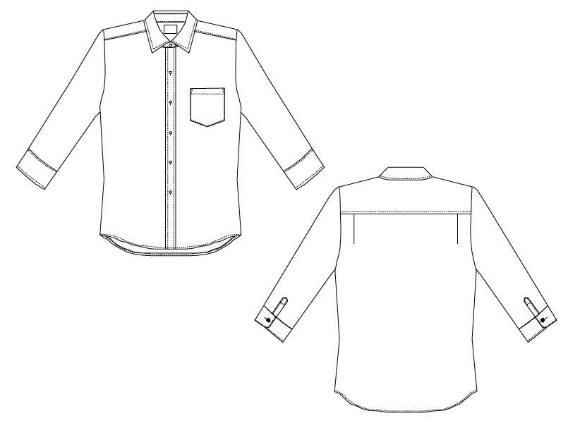 EP-7618 チトセ(アルベ) ブロードシャツ/七分袖(男女兼用) ハンガーイラスト・線画