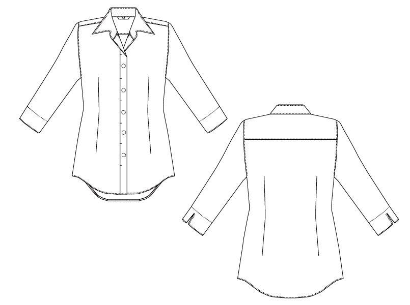 EP-7736 チトセ(アルベ) ブロードシャツ/七分袖(女性用)開襟 ハンガーイラスト・線画