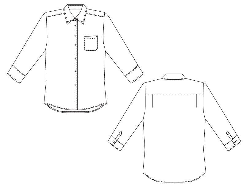 EP-7818 チトセ(アルベ) ボタンダウンシャツ/七分袖(男女兼用)ギンガムチェック ハンガーイラスト・線画
