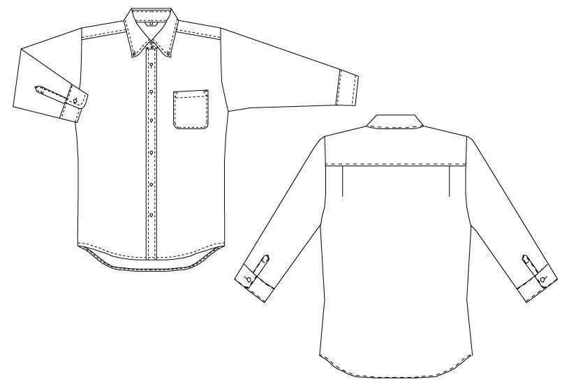 EP-7821 チトセ(アルベ) ボタンダウンシャツ/七分袖(男女兼用) ハンガーイラスト・線画