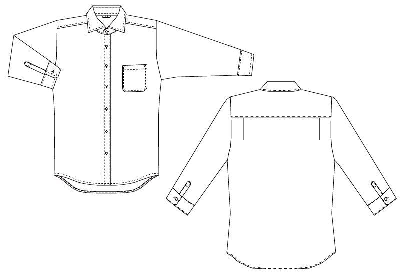 EP-7822 チトセ(アルベ) ワイドカラーシャツ/七分袖(男女兼用) ハンガーイラスト・線画