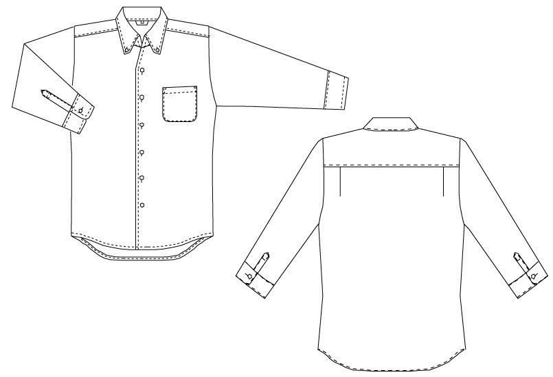 EP-7823 チトセ(アルベ) ボタンダウンシャツ/七分袖(男女兼用)開襟 ハンガーイラスト・線画