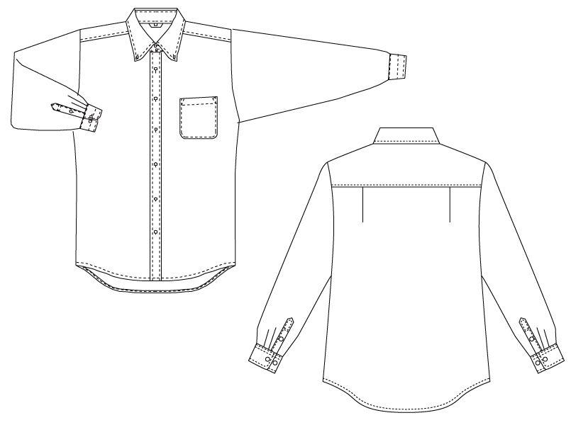 EP-7921 チトセ(アルベ) ボタンダウンシャツ/長袖(男女兼用) ハンガーイラスト・線画