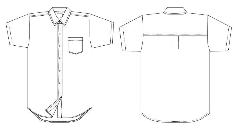 EP-827 チトセ(アルベ) カッターシャツ/半袖(女性用) ハンガーイラスト・線画