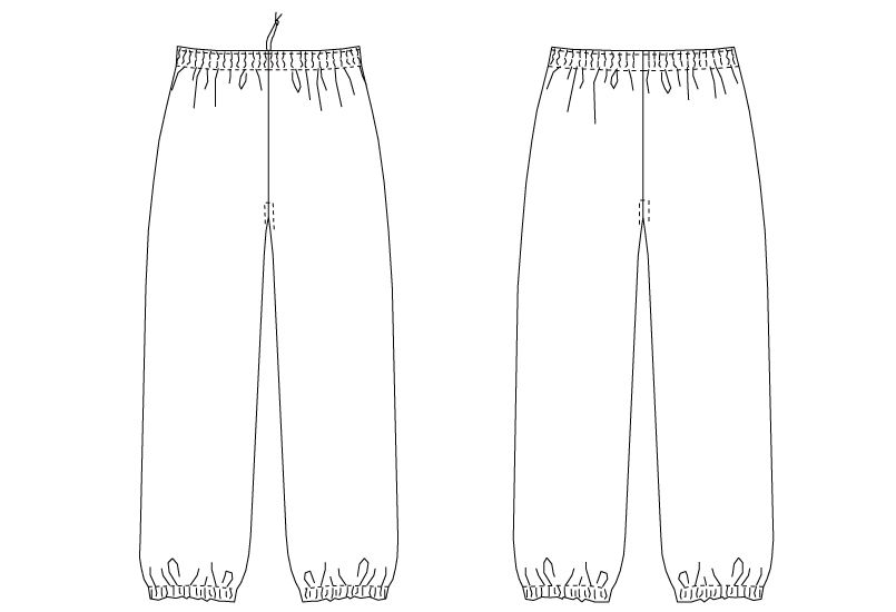 G-71151 チトセ(アルベ) 和風パンツ(男女兼用) ハンガーイラスト・線画