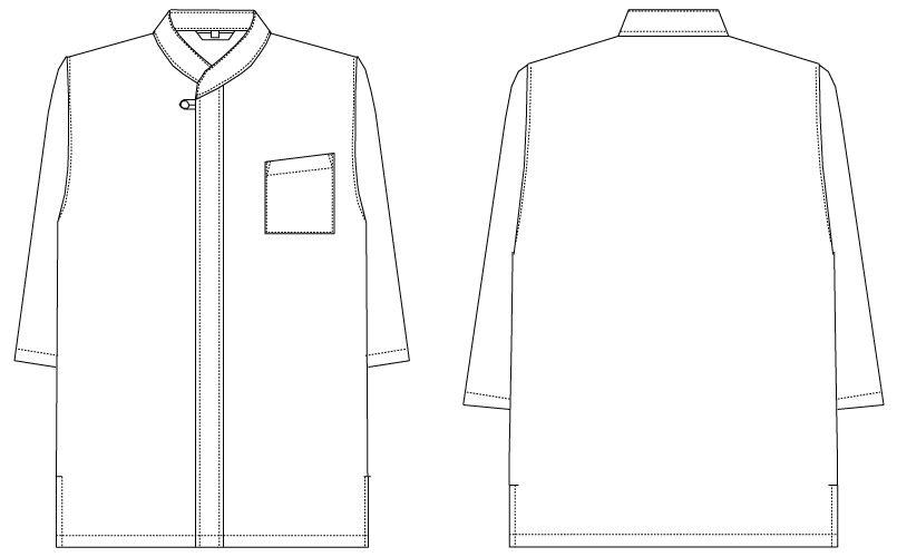 G-7739 チトセ(アルベ) 和風シャツ/七分袖(男女兼用) ハンガーイラスト・線画