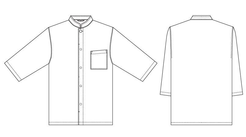[在庫限り/返品交換不可]G-7741 チトセ(アルベ) 和風シャツ/七分袖(男女兼用) ハンガーイラスト・線画