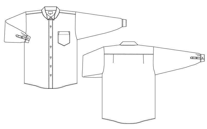 KM-4038 チトセ(アルベ) ウィングカラーシャツ/長袖(男性用) ハンガーイラスト・線画