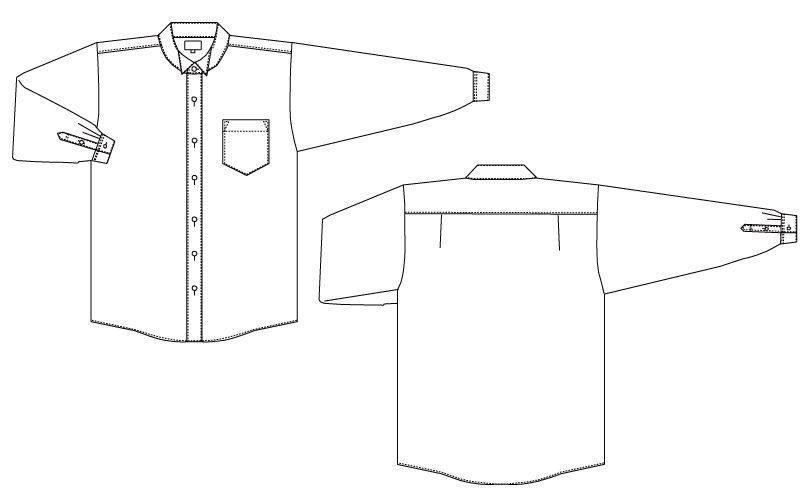 KM-4039 チトセ(アルベ) ウィングカラーシャツ/長袖(女性用) ハンガーイラスト・線画
