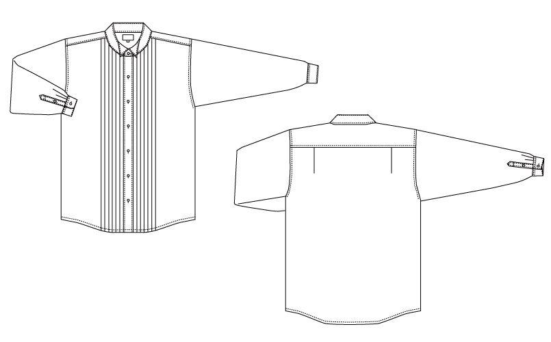 KM-4091 チトセ(アルベ) ピンタックウイングカラーシャツ(女性用) ハンガーイラスト・線画