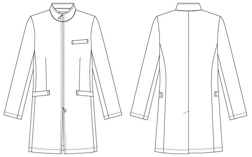MK-0013 ミッシェルクラン(MICHEL KLEIN) ドクターコート(男性用) ハンガーイラスト・線画