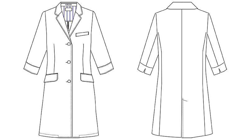MZ-0024 ミズノ(mizuno) 七分袖ドクターコート・シングル(女性用) ハンガーイラスト・線画
