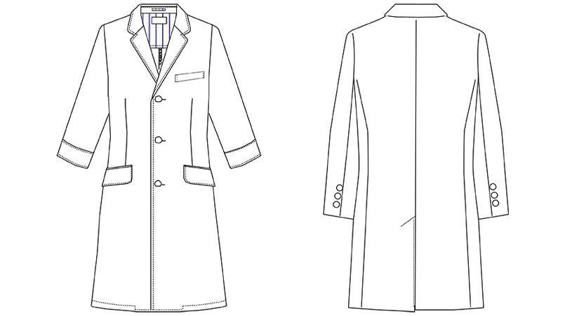 MZ-0025 ミズノ(mizuno) ドクターコート・シングル(男性用) ハンガーイラスト・線画