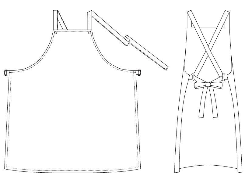 T-12 チトセ(アルベ) レザー胸当てエプロン(ポケ無し) X型(男女兼用) ハンガーイラスト・線画