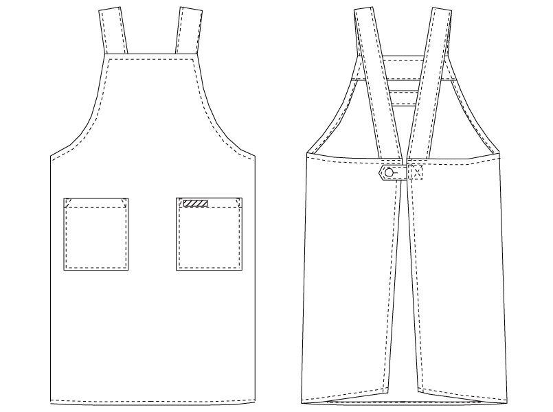 T-134 チトセ(アルベ) H型 胸当てエプロン(男女兼用) ハンガーイラスト・線画