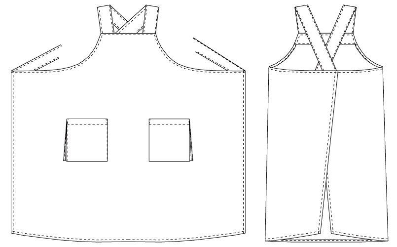 T-152 チトセ(アルベ) 胸当てエプロン(男女兼用) ハンガーイラスト・線画