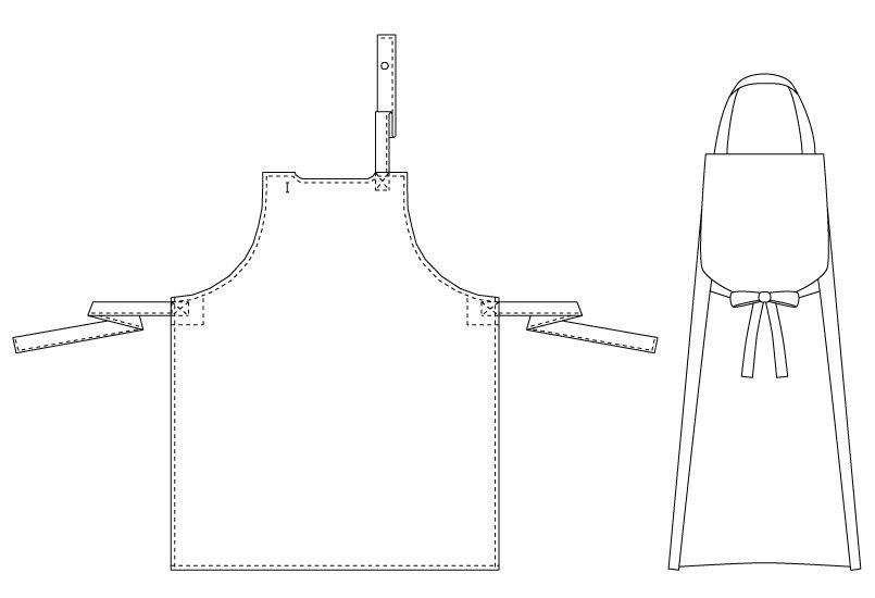 T-155 チトセ(アルベ) 綿100%厨房胸当てエプロンポケット無し(男女兼用) ハンガーイラスト・線画