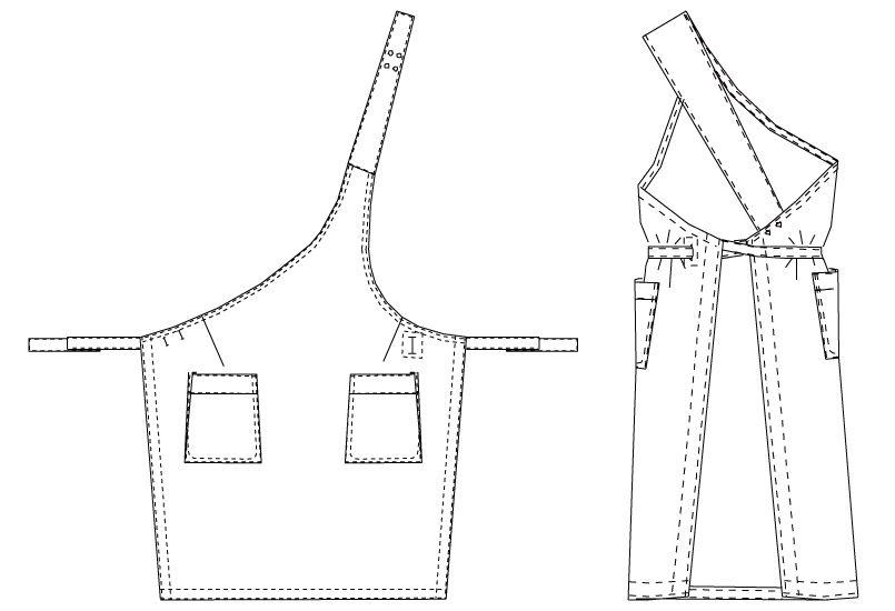 T-5480 チトセ(アルベ) 左肩エプロン(男女兼用) ハンガーイラスト・線画