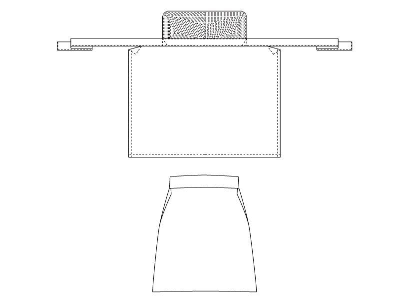 T-6103 チトセ(アルベ) 厨房刺子前掛けエプロン(男女兼用) ハンガーイラスト・線画