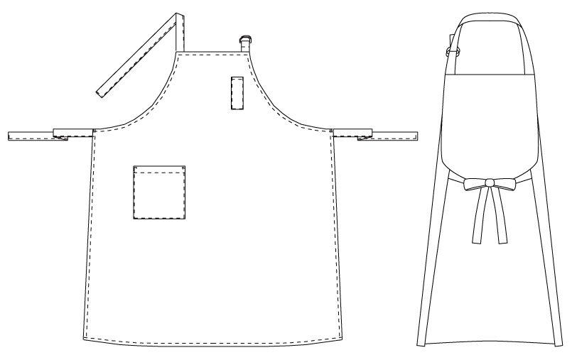 T-62 チトセ(アルベ) 胸当てエプロン 首掛け(男女兼用) ハンガーイラスト・線画