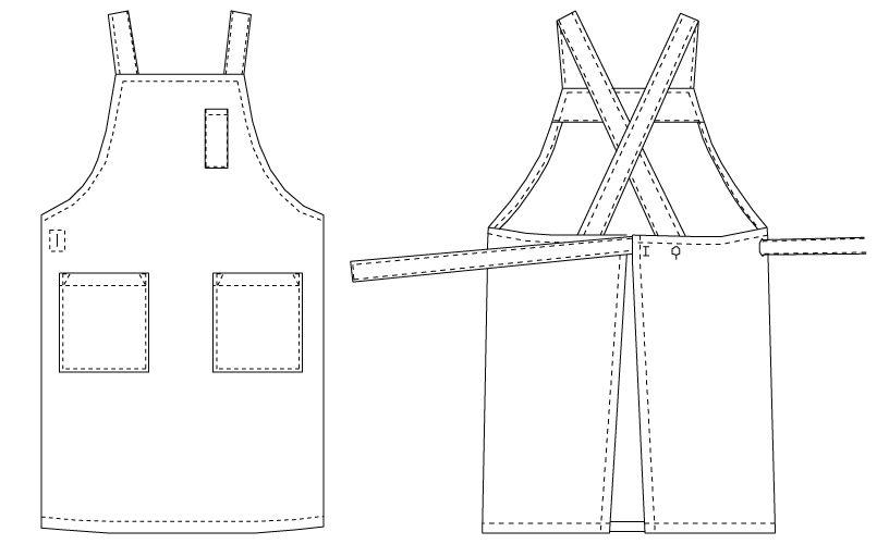 T-6230 チトセ(アルベ) 胸当てエプロン(男女兼用)(サイズ調整可) ハンガーイラスト・線画