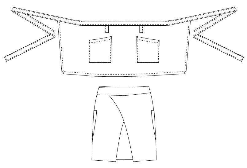 T-6231 チトセ(アルベ) ショートエプロン(男女兼用) ハンガーイラスト・線画