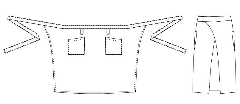 T-6232 チトセ(アルベ) ミドル丈撥水エプロン(男女兼用) ハンガーイラスト・線画