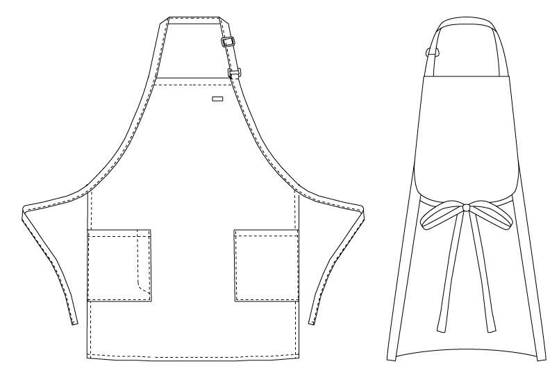 T-6724 チトセ(アルベ) 胸当てエプロン(男女兼用) ハンガーイラスト・線画