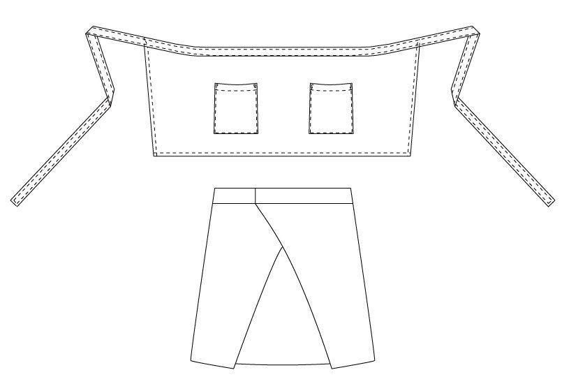 T-6878 チトセ(アルベ) ショートエプロン 腰巻(男女兼用) ハンガーイラスト・線画