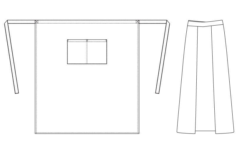 [在庫限り/返品交換不可]T-71204 チトセ(アルベ) ロングエプロン(男女兼用) ハンガーイラスト・線画