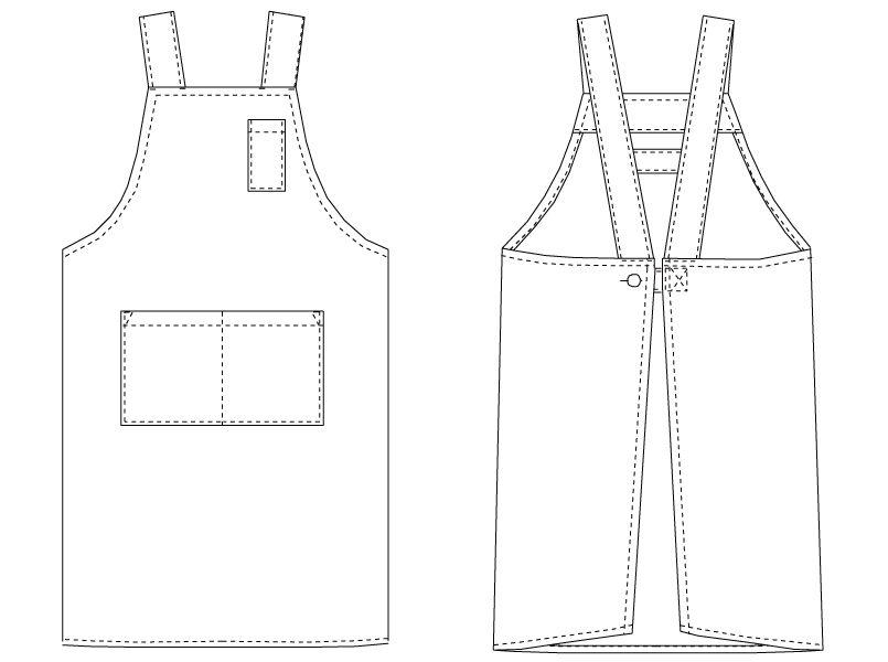 T-7501 チトセ(アルベ) 胸当てエプロン H型(男女兼用) ハンガーイラスト・線画