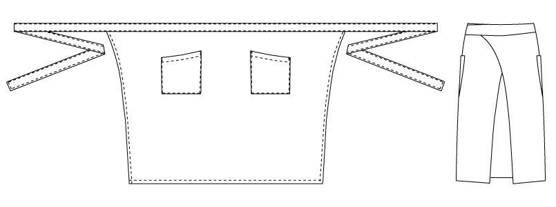 T-7746 チトセ(アルベ) 制電ミドルエプロン(男女兼用) ハンガーイラスト・線画