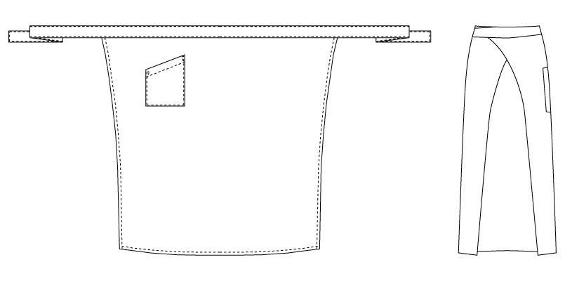 T-7747 チトセ(アルベ) ソムリエエプロン(男女兼用) ハンガーイラスト・線画