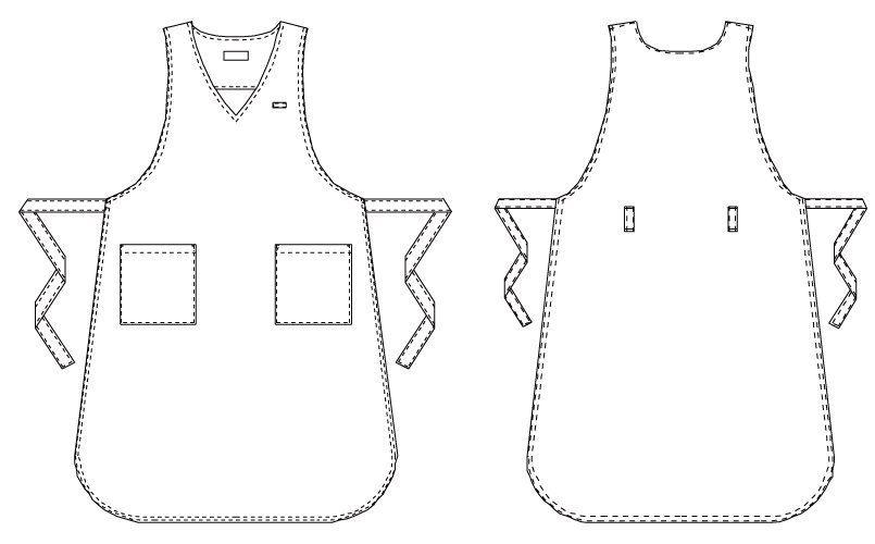 T-7802 キャララ(Calala) 胸当てエプロン おしりが隠れる(女性用) ハンガーイラスト・線画