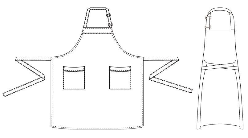 T-7924 チトセ(アルベ) 胸当てエプロン(男女兼用) ハンガーイラスト・線画