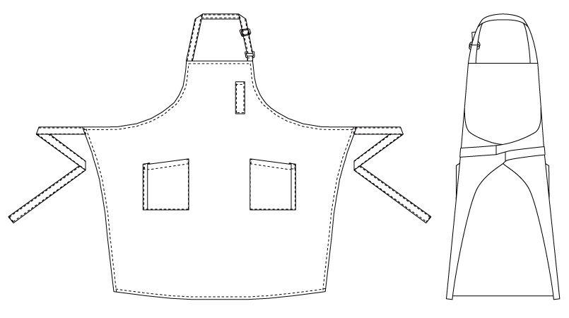T-7931 チトセ(アルベ) 胸当てエプロン(男女兼用) ハンガーイラスト・線画