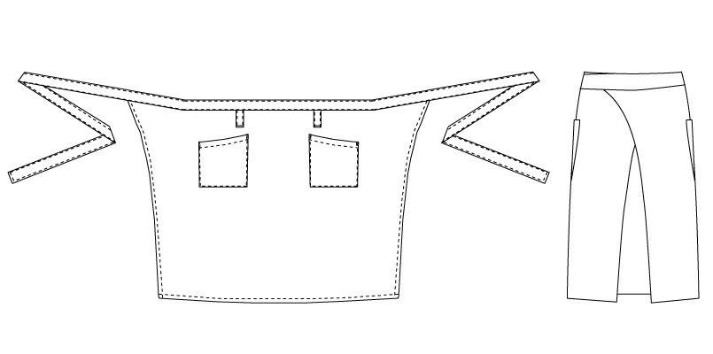 T-7934 チトセ(アルベ) ミドルエプロン ストライプ(男女兼用) ハンガーイラスト・線画