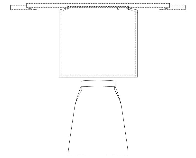 T-80 チトセ(アルベ) 厨房前掛けエプロン(腰巻)(男女兼用) ハンガーイラスト・線画