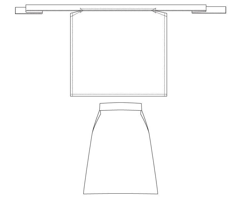 T-81 チトセ(アルベ) 綿100%厨房前掛けエプロン(腰巻)(男女兼用) ハンガーイラスト・線画